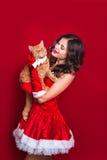 佩带圣诞老人的美丽的性感的女孩画象穿衣与红色英国猫 免版税库存图片