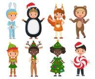 佩带圣诞节的传染媒介套逗人喜爱的孩子给服装穿衣 库存例证