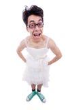 佩带在妇女礼服的滑稽的人 免版税库存图片