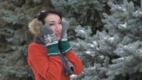 佩带在毛皮手套和御寒耳罩接触的妇女她的面孔和面颊 与多雪的冷杉木的冬天森林美好的风景 股票视频