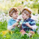 佩带复活节兔子耳朵和吃巧克力的两个小男孩 免版税库存照片
