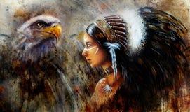 佩带大的一名年轻印地安妇女的美好的神秘的绘画 免版税库存图片