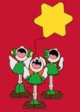 佩带天使的三个女孩的例证飞过唱和运载一个黄色星状气球 向量例证