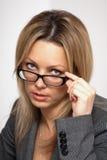 佩带妇女的企业玻璃 免版税库存照片