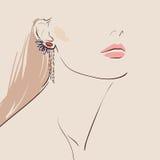 佩带妇女的美丽的耳环 dress2 免版税库存照片