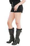 佩带妇女的黑色短裤 库存照片