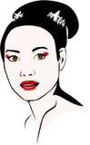 佩带小圆面包和艺妓构成的亚裔妇女 免版税库存照片