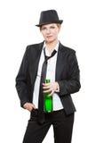 佩带帽子和领带的女实业家,举行 图库摄影