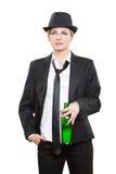 佩带帽子和领带的女实业家,举行 免版税库存照片