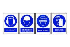 佩带御寒耳罩或耳塞,佩带领袖保护,佩带风镜,穿戴手保护,蓝色和白色安全标志 免版税库存图片