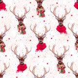 佩带时髦的冬天围巾无缝的传染媒介的逗人喜爱的鹿打印 免版税库存照片