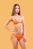 佩带桃红色游泳衣的性感的白肤金发的妇女摆在颜色背景 理想的机体 比基尼泳装编目 库存照片