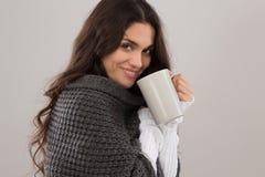 佩带灰色羊毛衫的深色的妇女画象 库存照片