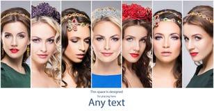 佩带珍贵的珠宝商的华美,典雅和美丽的妇女 库存照片