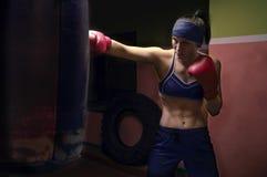 佩带红色手套和班丹纳花绸的拳击手女孩 库存照片