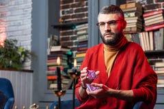 佩带红色羊毛衫的有胡子的占卜者拿着紫色预言的卡片 免版税库存图片