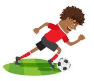 佩带红色t-shir的滑稽的非裔美国人的足球足球运动员 皇族释放例证