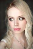 佩带胸罩的年轻美丽的白肤金发的性感的妇女画象  关闭被修饰的画象 图库摄影