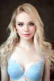 佩带胸罩的年轻美丽的白肤金发的性感的妇女画象  关闭被修饰的画象 免版税库存图片