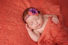 佩带花头饰带的女婴 库存图片