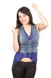 佩带蓝色庄稼顶面摆在的美丽的女孩 库存图片