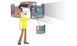 佩带虚拟现实风镜的人的例证 免版税库存照片