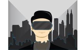 佩带虚拟现实风镜的男孩形象化世界地方 免版税库存图片