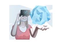 佩带虚拟现实齿轮形象化的全息图的妇女 库存照片