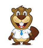佩带衬衣和领带的海狸 向量例证