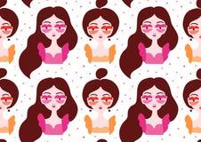 佩带超现实主义的嘴唇镜片的女孩 免版税库存图片