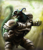佩带钢装甲的蜥蜴战士 免版税图库摄影