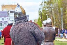 佩带锁子甲的中世纪俄国战士 免版税库存图片