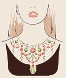 佩带项链的美丽的妇女 库存图片