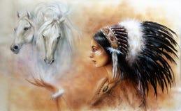佩带去的一名年轻印地安妇女的美好的气刷绘画 免版税库存照片