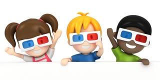 佩带3d玻璃和blankboard的孩子 免版税库存图片