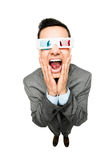 佩带3d玻璃电影白色bac的全长亚洲商人 免版税库存图片