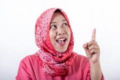 佩带hijab的亚裔回教女实业家 免版税库存照片