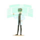 佩带VR耳机的男性科学家运转在数字模仿,未来技术概念传染媒介例证 图库摄影