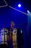 佩德罗马丁内斯小组执行活在4月28日爵士乐 库存照片