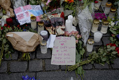 佩斯在法国大使馆攻击了_PEOPLE和花 库存图片