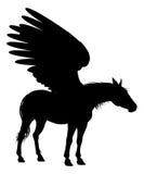 佩格瑟斯飞过了马剪影 免版税库存照片