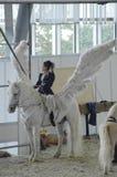 佩格瑟斯 国际马展示 在一个白马的女性车手 空白翼 免版税库存照片