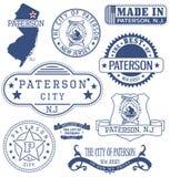 佩特森市、NJ、普通邮票和标志 免版税库存照片
