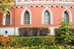 佩特洛夫宫殿的旁边半圆附录的片段,莫斯科,俄罗斯 免版税库存照片
