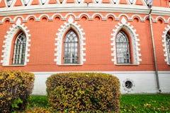 佩特洛夫宫殿的旁边半圆附录的片段,莫斯科,俄罗斯 图库摄影