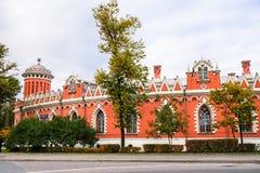 佩特洛夫宫殿,莫斯科,俄罗斯的侧向半圆附录 免版税库存图片