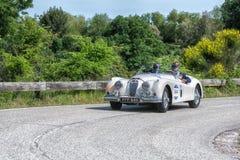 佩萨罗COLLE圣BARTOLO,意大利- 2018年5月17日- :在集会Mille Miglia 2018的捷豹汽车XK 140 OTS 1954老赛车著名ita 免版税库存图片