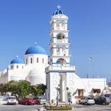 佩里萨-圣托里尼09-09-2015,美丽的教会在佩里萨,圣托里尼希腊 免版税图库摄影