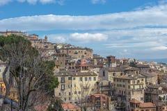 佩鲁贾,翁布里亚,意大利全景  库存照片