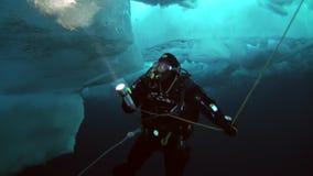佩戴水肺的潜水在地理北极的北极 股票录像